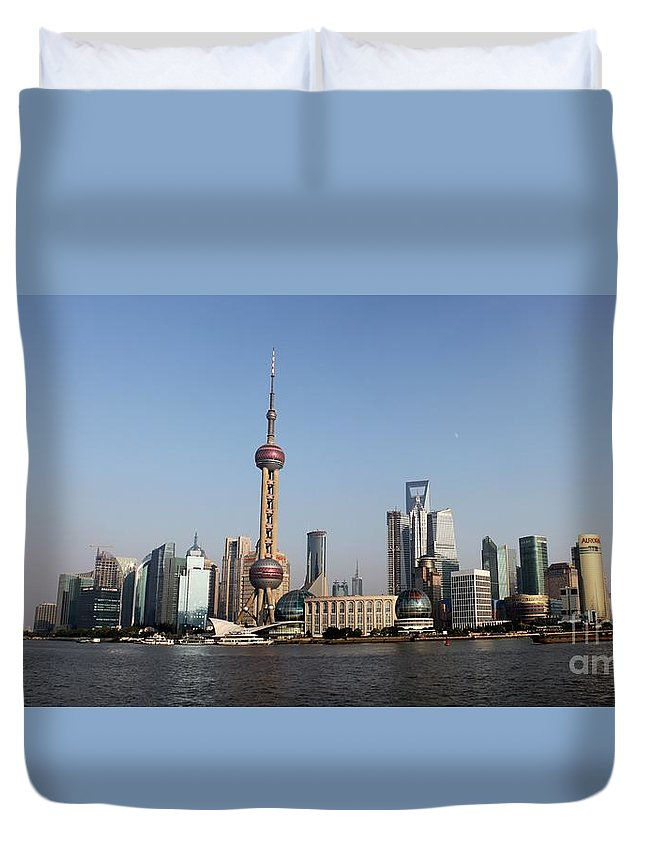 China Duvet Cover featuring the photograph Shanghai Skyline by Thomas Marchessault