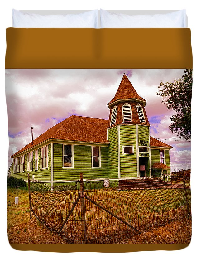 School Duvet Cover featuring the photograph Shaniko School District Sixty Seven by Jeff Swan