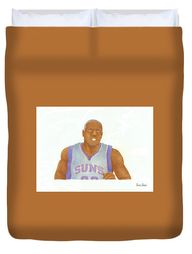 Basketball Duvet Cover featuring the drawing Shannon Brown by Toni Jaso