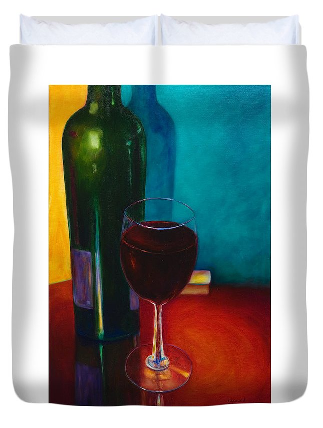 Wine Bottle Duvet Cover featuring the painting Shannon's Red by Shannon Grissom