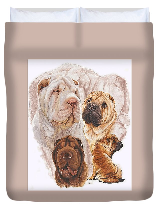 Wrinkle Dog Duvet Cover featuring the mixed media Shar Pei Medley by Barbara Keith