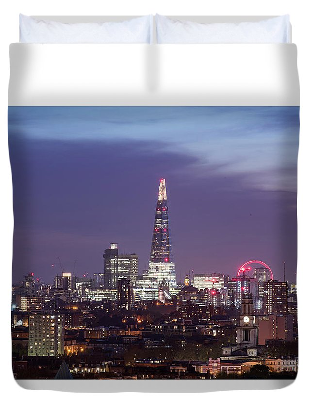 Architect Duvet Cover featuring the photograph Shard Oxo Tower London Eye Walkie Talkie From Balfron Tower by Monika Tymanowska