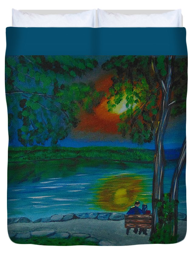 Hamilton Duvet Cover featuring the painting Shared Sunset Hamilton by David Bigelow
