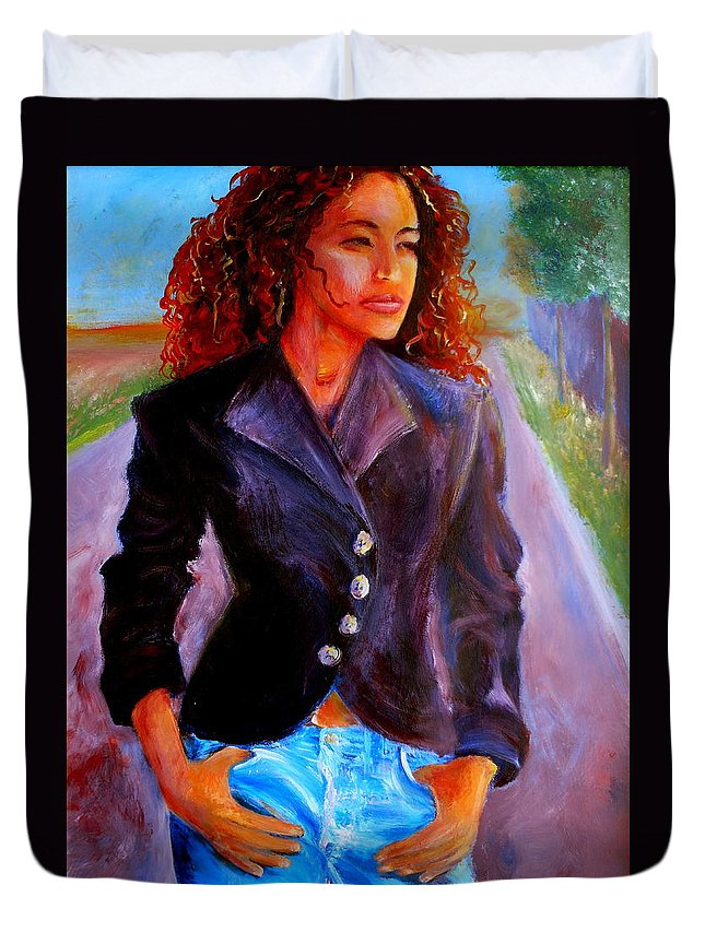 Acrylic Duvet Cover featuring the painting Sharice by Jason Reinhardt