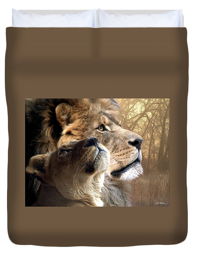 Lions Duvet Cover featuring the digital art Sharing The Vision by Bill Stephens