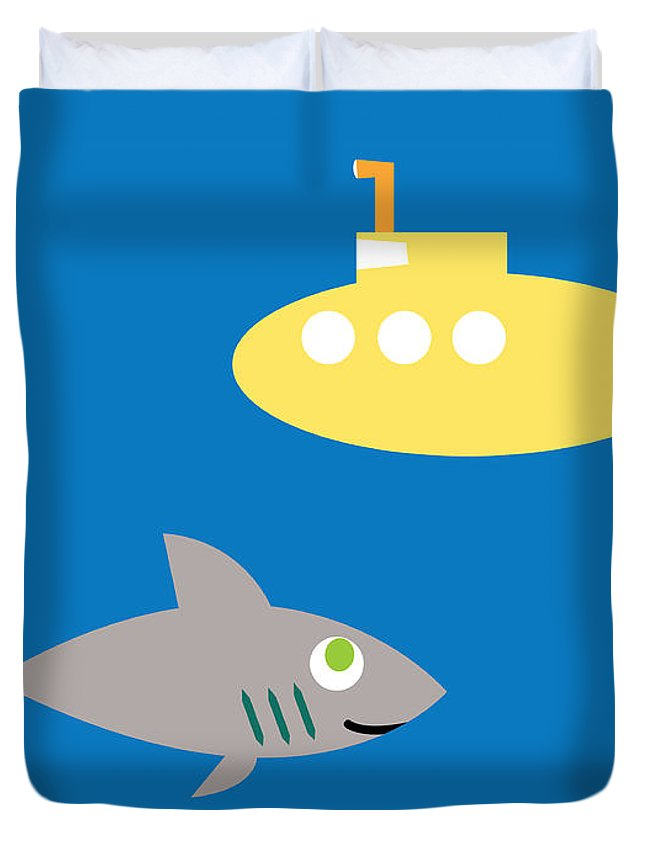 Pbs Kids Duvet Cover featuring the digital art Shark And Submarine by Pbs Kids