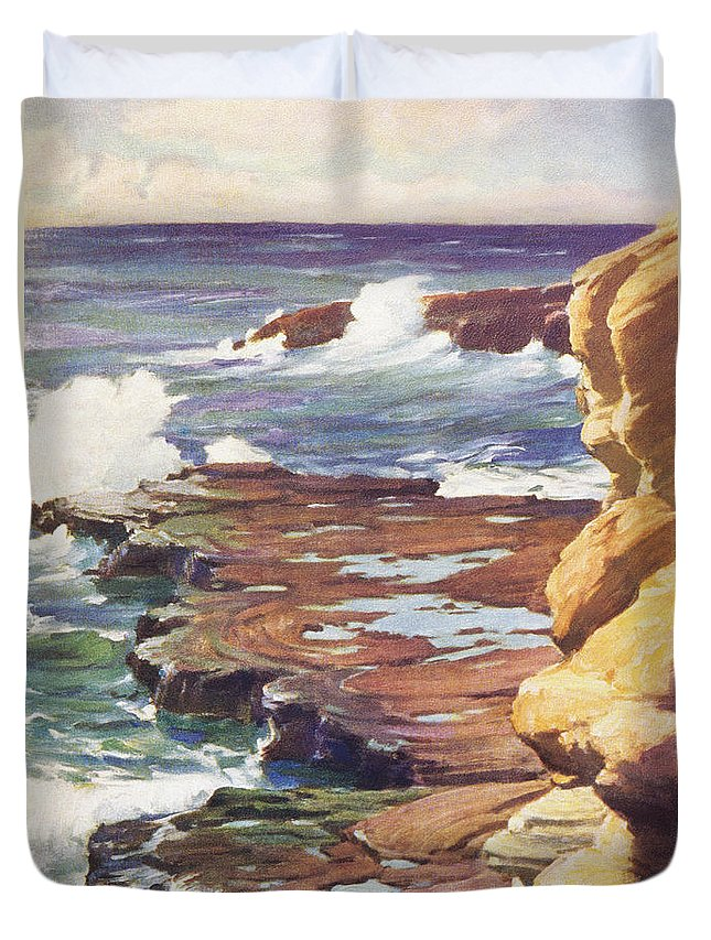 1936 Duvet Cover featuring the painting Sharp Rocky Coastline by Hawaiian Legacy Archive - Printscapes