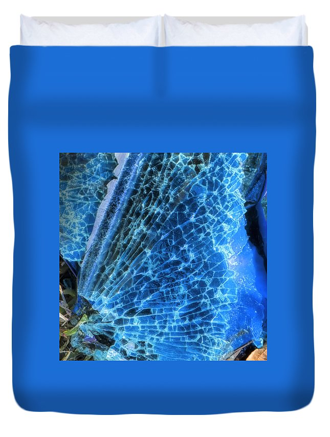 Ground Shot Duvet Cover featuring the photograph Shattered I by Paula Barrickman