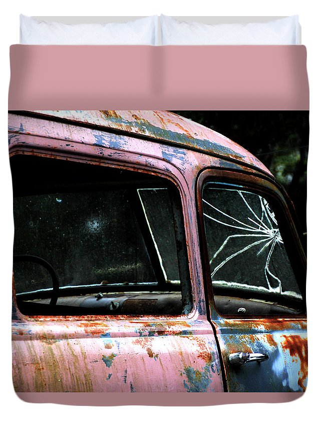 Antique Duvet Cover featuring the photograph Shattered by Pauline Darrow