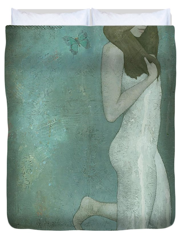 Green Duvet Cover featuring the painting Shavata by Steve Mitchell