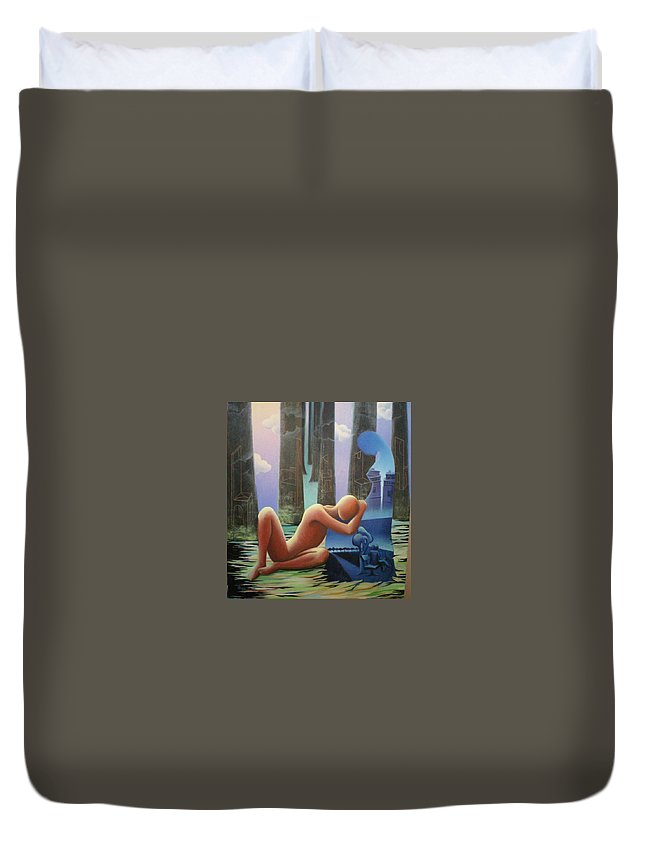 Romantic Duvet Cover featuring the painting She And I by Raju Bose