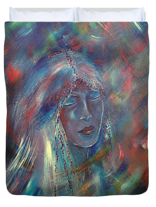 Face Duvet Cover featuring the painting She Dreams In Color by Robin Monroe