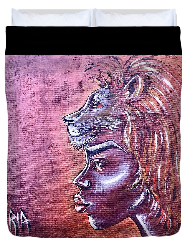 Lion Duvet Cover featuring the painting She Has Goals by Artist RiA
