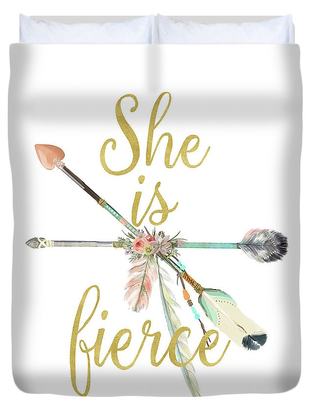 She Is Fierce Duvet Cover featuring the digital art She Is Fierce Boho Tribal Gold Blush Arrow Print by Pink Forest Cafe