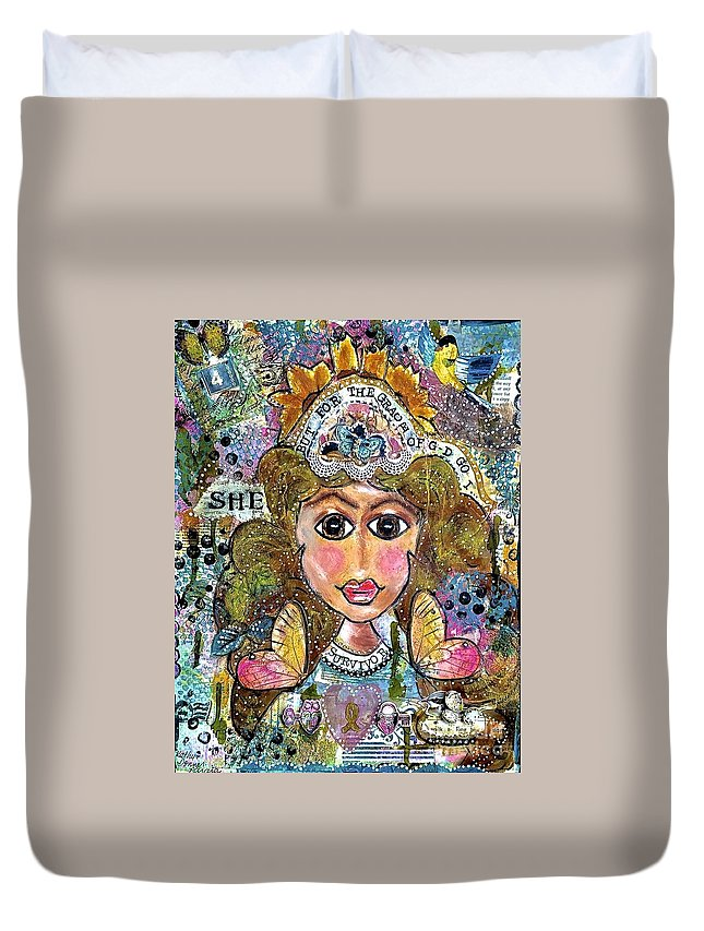 Survivor Duvet Cover featuring the mixed media SHE by Kathy Donner Parara