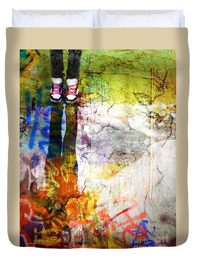 Shoes Duvet Cover featuring the photograph She Lives In A Box Of Paint by Tara Turner