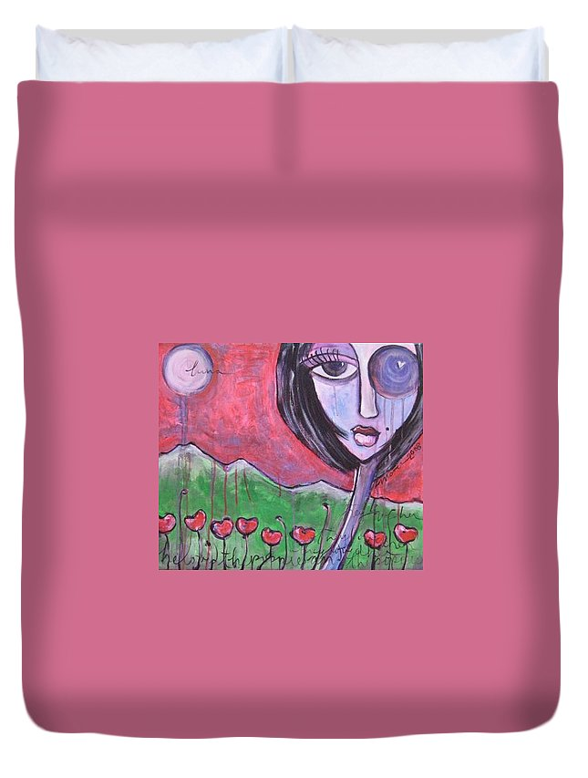 Poppies Duvet Cover featuring the painting She Loved The Poppies by Laurie Maves ART