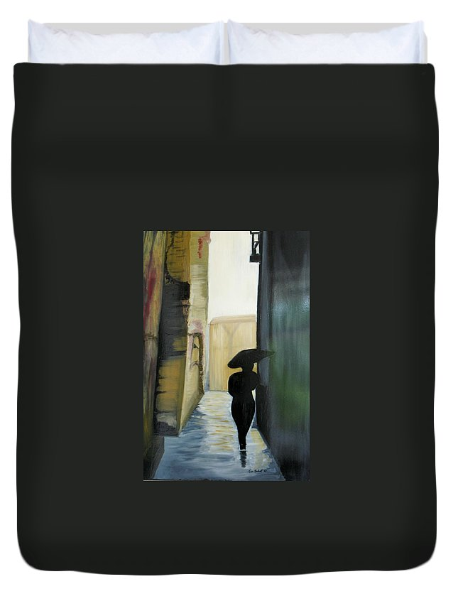 Woman Walking Duvet Cover featuring the painting She Walks by Kim Rahal
