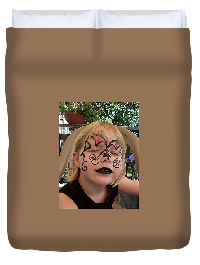 Tribal Duvet Cover featuring the painting She Wanted A Tough Face by Deahn   Benware