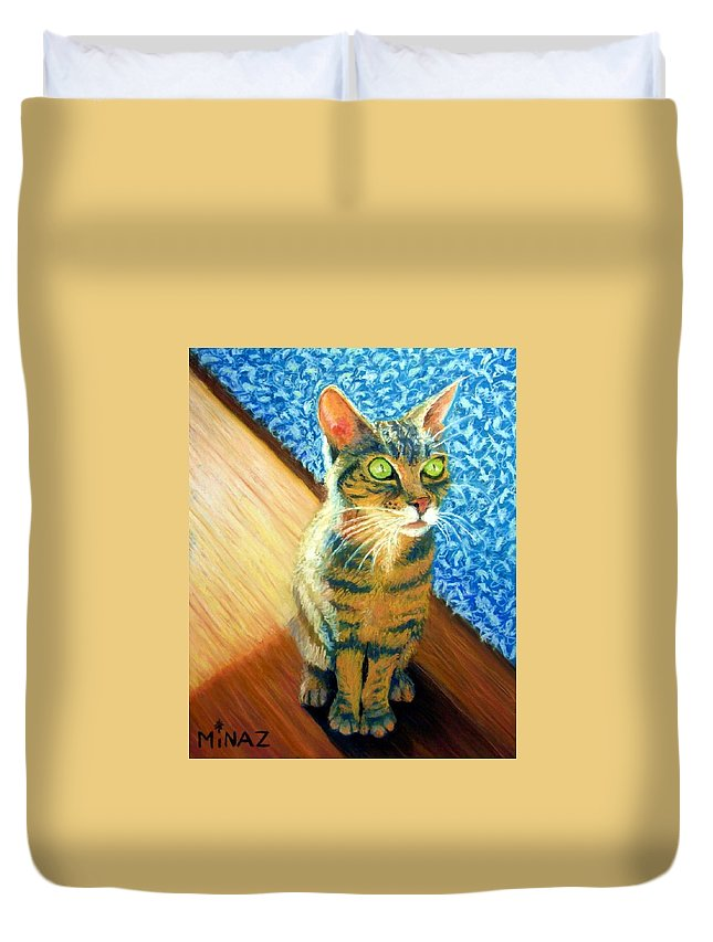 Cat Duvet Cover featuring the painting She Wants To Be Famous by Minaz Jantz