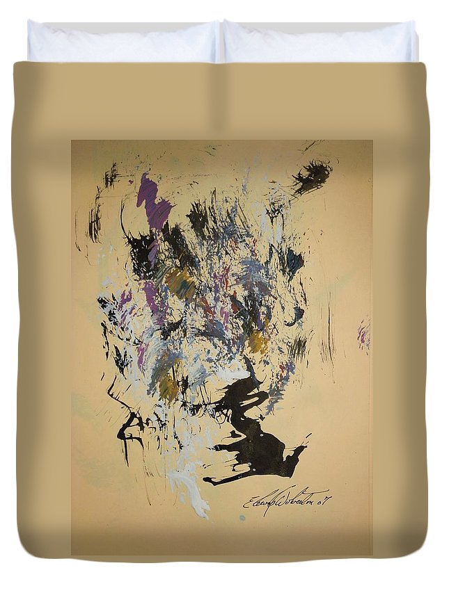 Abstract Duvet Cover featuring the painting She Walks With A Purple Unicorn by Edward Wolverton