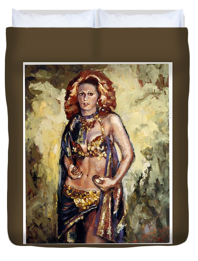 Belly Dancer Duvet Cover featuring the painting Sheeba by Janet Lavida