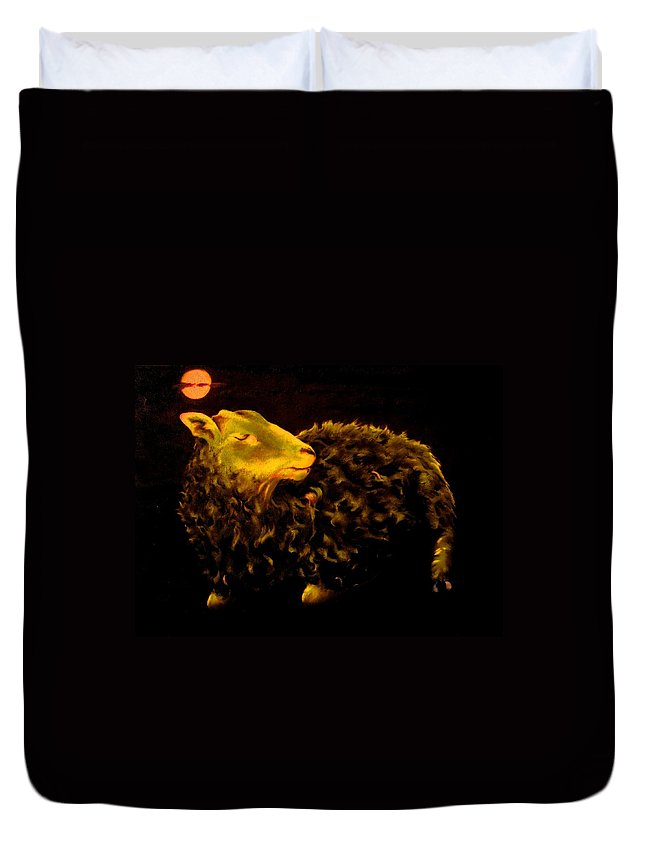Sheep Duvet Cover featuring the painting Sheep At Night by Mark Cawood
