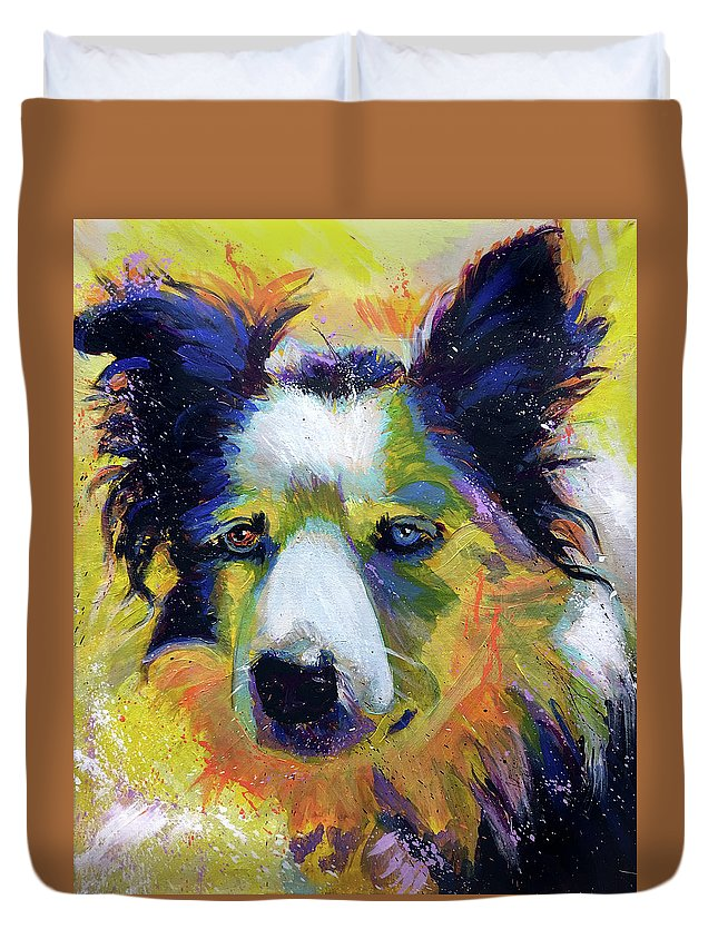 Sheep Duvet Cover featuring the painting Sheep Dog by Steve Gamba