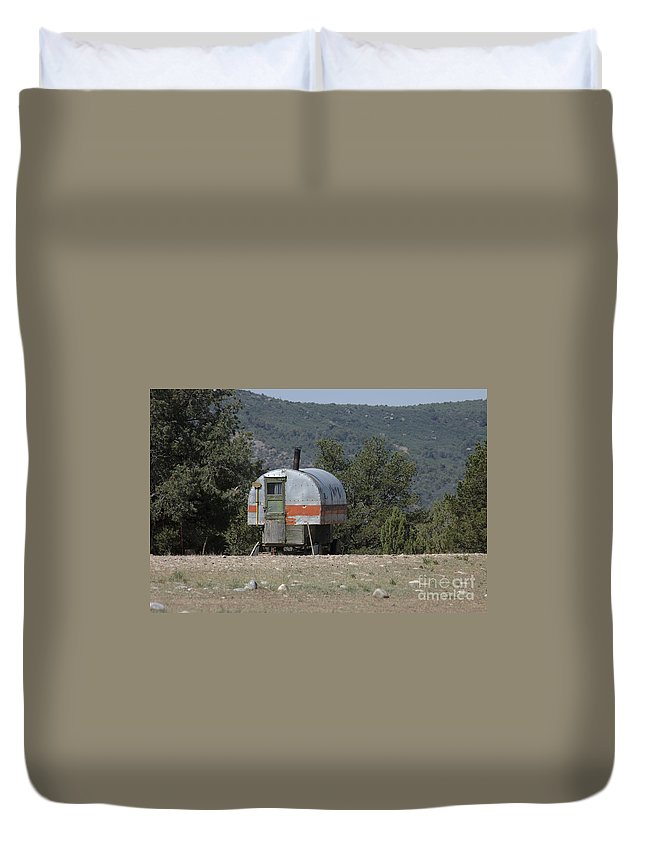 Sheep Duvet Cover featuring the photograph Sheep Herder's Wagon by Jerry McElroy