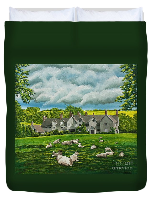 English Painting Duvet Cover featuring the painting Sheep In Repose by Charlotte Blanchard