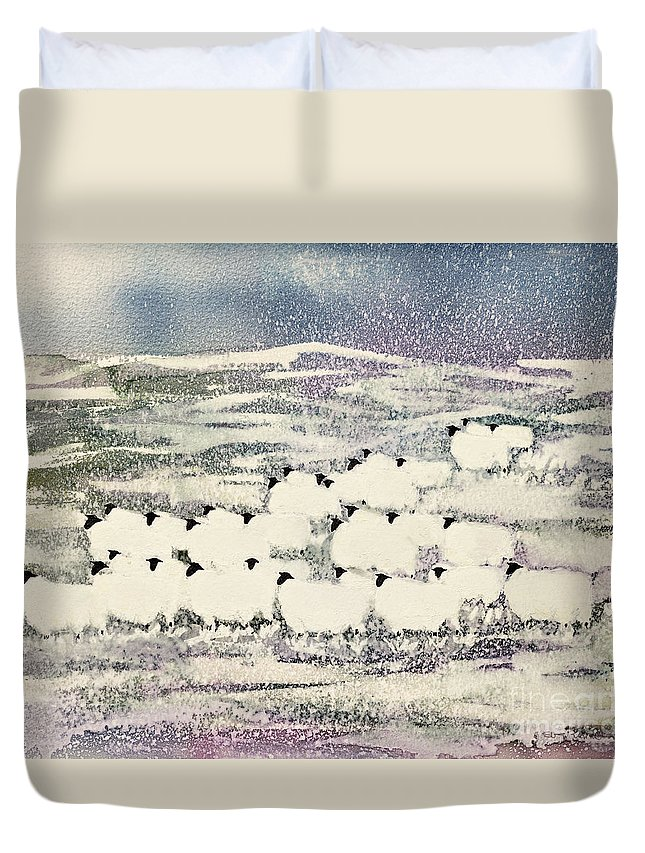 Sheep In Winter By Suzi Kennett (contemporary Artist) Duvet Cover featuring the painting Sheep In Winter by Suzi Kennett