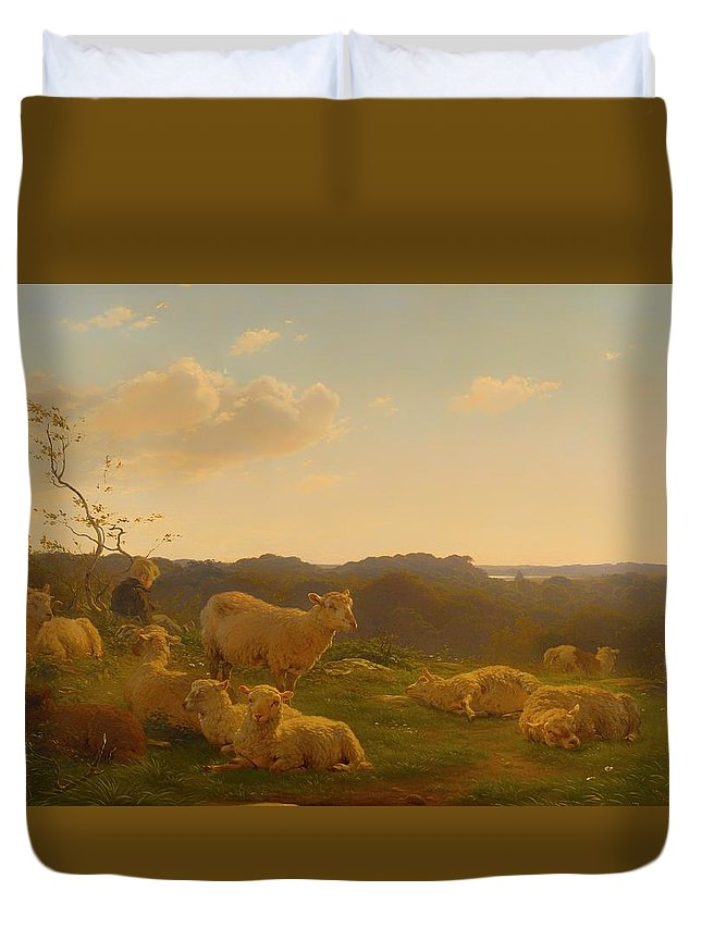 Painting Duvet Cover featuring the painting Sheep On A Hill Near Skarridso by Mountain Dreams