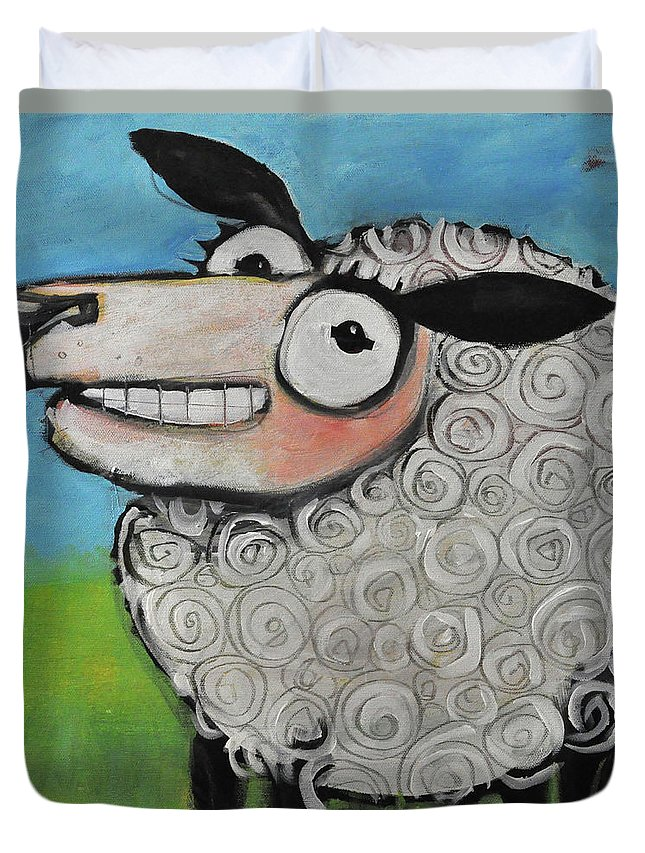 Sheep Duvet Cover featuring the painting Sheep by Tim Nyberg