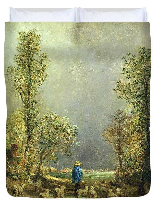 Sheep Duvet Cover featuring the painting Sheep Watching A Storm by Constant-Emile Troyon