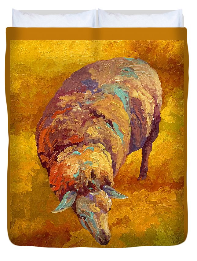 Llama Duvet Cover featuring the painting Sheepish by Marion Rose