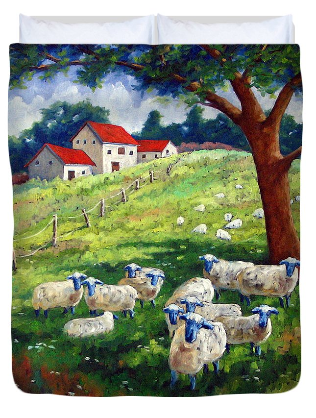 Sheep Duvet Cover featuring the painting Sheeps In A Field by Richard T Pranke