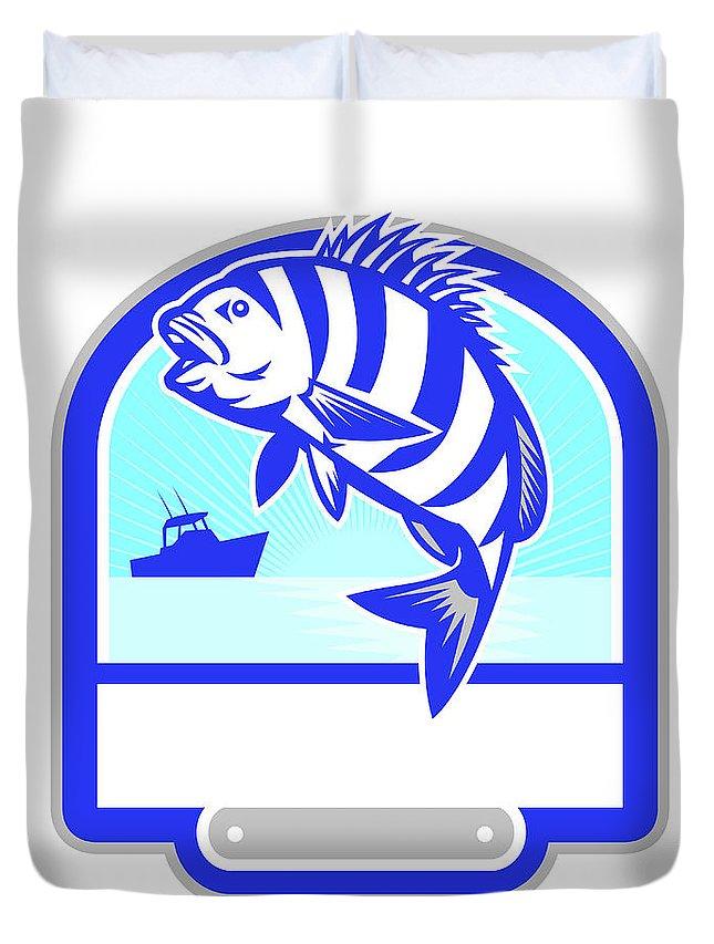 Sheepshead Duvet Cover featuring the digital art Sheepshead Fish Jumping Fishing Boat Crest Retro by Aloysius Patrimonio