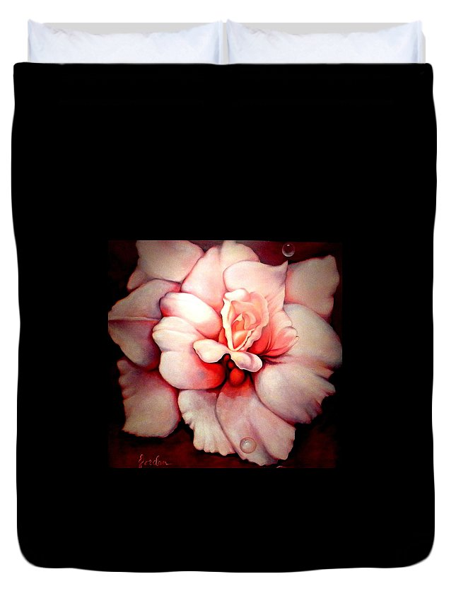 Blooms.large Rose Duvet Cover featuring the painting Sheer Bliss by Jordana Sands