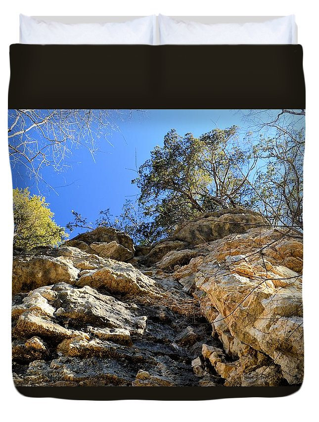Limestone Duvet Cover featuring the photograph Sheer Drop by Bonfire Photography