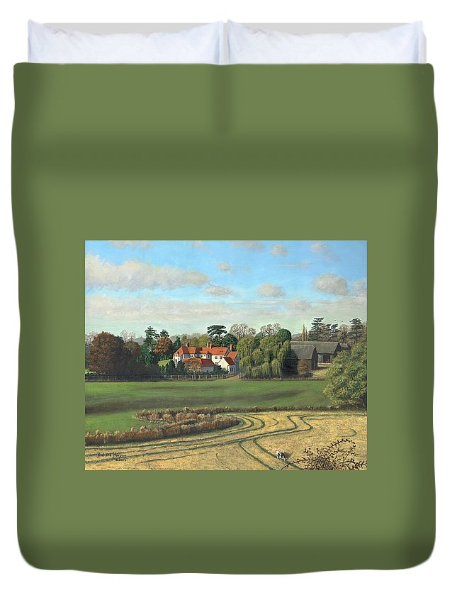 Landscape Duvet Cover featuring the painting Sheering Hall Near Harlow Essex by Richard Harpum