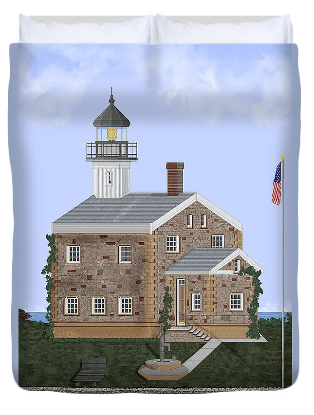 Lighthouse Duvet Cover featuring the painting Sheffield Island Lighthouse Connecticut by Anne Norskog