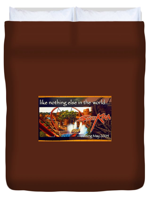 Sheikra Roller-coaster Duvet Cover featuring the photograph Sheikra Poster Add One by David Lee Thompson