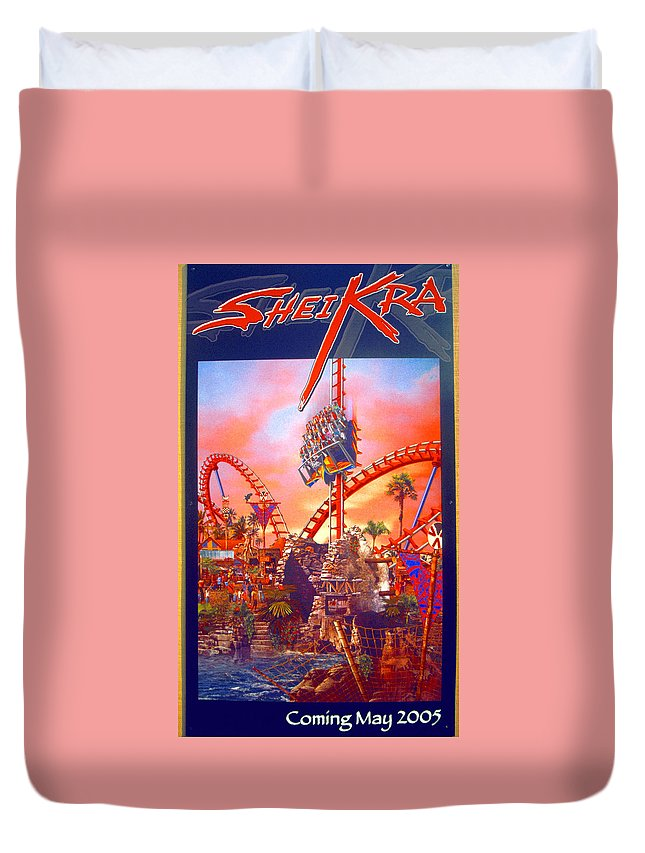 Sheikra Ride Poster Duvet Cover featuring the photograph Sheikra Ride Poster 3 by David Lee Thompson
