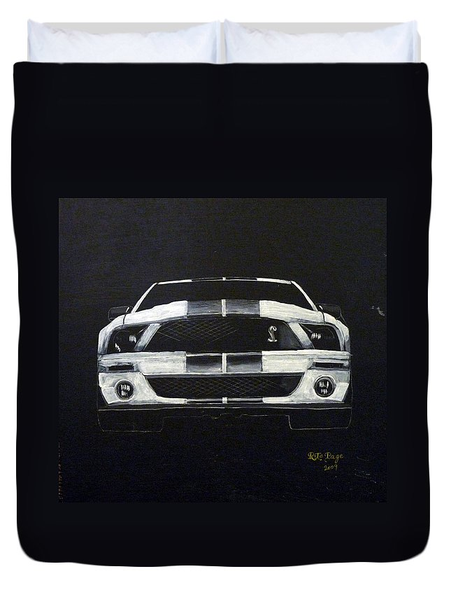 Shelby Duvet Cover featuring the painting Shelby Mustang Front by Richard Le Page