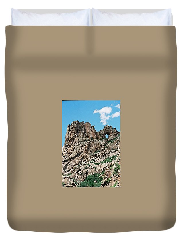 Shelf Road Duvet Cover featuring the photograph Shelf Road Rock Formations by Anita Burgermeister