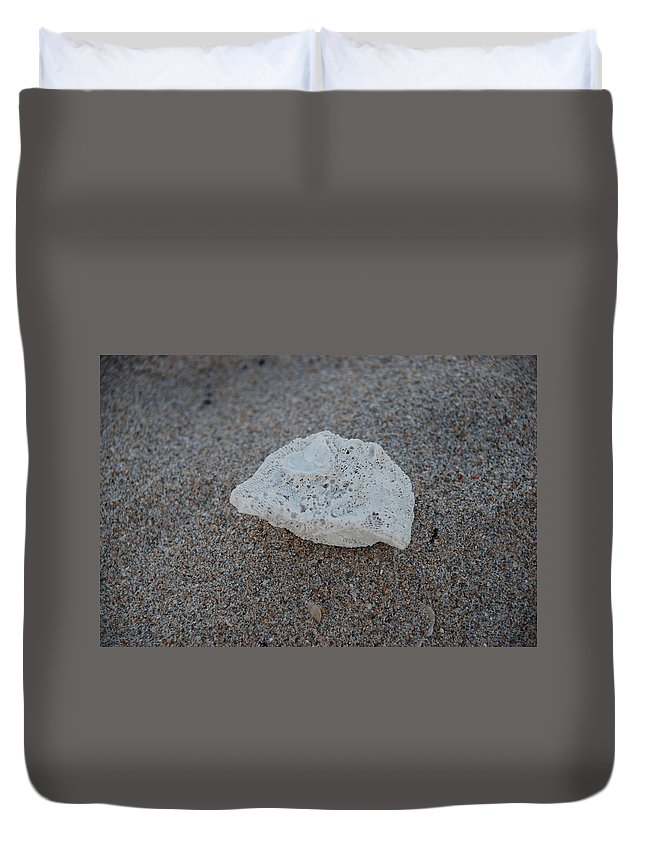 Shells Duvet Cover featuring the photograph Shell And Sand by Rob Hans