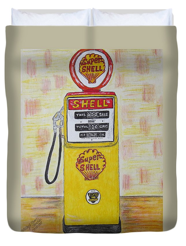 Super Shell Duvet Cover featuring the painting Shell Gas Pump by Kathy Marrs Chandler