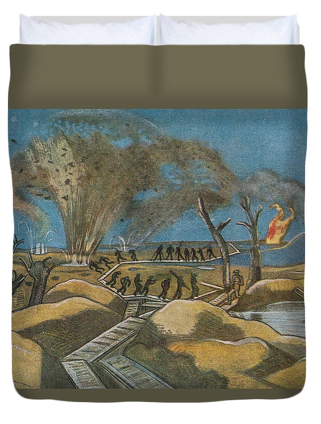 World War One Duvet Cover featuring the painting Shelling The Duckboards by Paul Nash