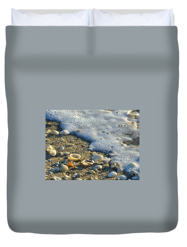 Shells Duvet Cover featuring the photograph Shells And Seafoam by Peggy King