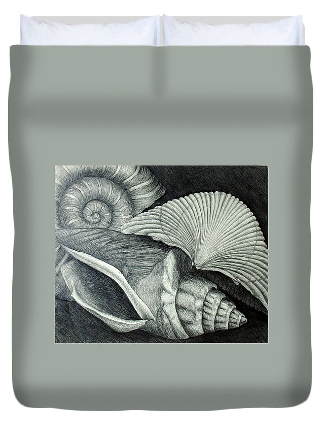Shells Duvet Cover featuring the drawing Shells by Nancy Mueller